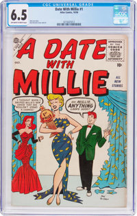 A Date With Millie #1 (Atlas, 1956) CGC FN+ 6.5 Off-white to white pages