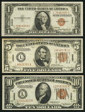 Small Size:World War II Emergency Notes, Fr. 2300 $1 1935A Hawaii Silver Certificate. Extremely Fine;. Fr. 2301 $5 1934 Mule Hawaii Federal Reserve Note. Very Fine;. F... (Total: 3 notes)