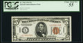 Small Size:World War II Emergency Notes, Fr. 2301 $5 1934 Hawaii Federal Reserve Note. PCGS Choice About New55.. ...