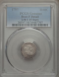 Early Half Dimes, 1797 H10C 15 Stars, V-2, LM-1, R.3, -- Bent -- PCGS Genuine. FineDetails. NGC Census: (1/30). PCGS Population: (1/5). Fine...
