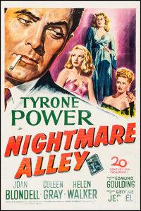 "Nightmare Alley (20th Century Fox, 1947). One Sheet (27"" X 41""). Film Noir"