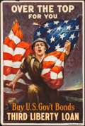 "Movie Posters:War, World War I Propaganda (Ketterlinus, Phil., U.S. Government, 1918).Third Liberty Loan Poster (20"" X 30"") ""Over the Top, for..."