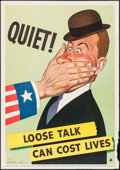 "Movie Posters:War, World War II Lot (British-American Ambulance Corps Inc., 1942).Propaganda Poster (13.75"" X 20"") Quiet! Loose Talk Can Cost ..."