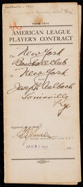 Autographs:Others, 1921 Joseph Aulbach Signed New York Yankees Contract with Ruppert& Ban Johnson. . ...