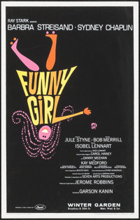 """Funny Girl (Triton Gallery, 1980s-1990s). Reproduction Silk Screen Theater Window Card (14"""" X 22""""). Musical..."""