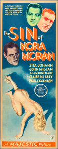 "Movie Posters:Crime, The Sin of Nora Moran (Majestic, 1933). Insert (14"" X 36""). Crime.. ..."