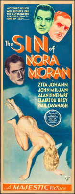 "The Sin of Nora Moran (Majestic, 1933). Insert (14"" X 36""). Crime"