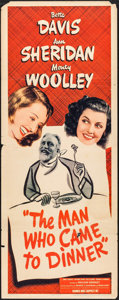 "Movie Posters:Comedy, The Man Who Came to Dinner (Warner Brothers, 1942). Insert (14"" X 36""). Comedy.. ..."