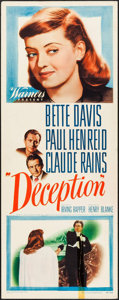 "Movie Posters:Crime, Deception (Warner Brothers, 1946). Insert (14"" X 36""). Crime.. ..."