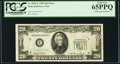 Error Notes:Obstruction Errors, Partially Obstructed Third Printing Error Fr. 2059-E $20 1950Federal Reserve Note. PCGS Gem New 65PPQ.. ...