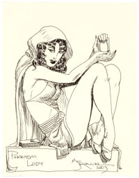 Michael William Kaluta Phantom Lady Seated Portrait Original Art (2003)