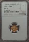 Mexico, Mexico: Republic gold Peso 1901 Mo-M MS65 NGC,...