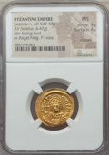 Ancients:Byzantine, Ancients: Justinian I (AD 527-565). AV solidus (4.47 gm). NGC MS4/5 - 4/5, clipped....