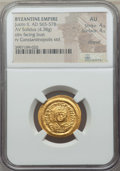 Ancients:Byzantine, Ancients: Justin II (AD 565-578). AV solidus (4.38 gm). NGC AU 4/5- 4/5, clipped....