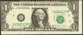 Error Notes:Miscellaneous Errors, Misaligned Face Printing Error Fr. 1915-G $1 1988A Federal ReserveNote. Very Fine.. ...
