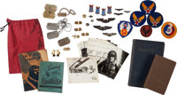 [Mickey Spillane]. [Militaria]. Collection of Spillane's World War II Relics. [Various places: