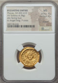 Ancients:Byzantine, Ancients: Phocas (AD 602-610). AV solidus (4.38 gm). NGC MS 4/5 -4/5, clipped....