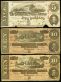 Confederate Notes:1863 Issues, T60 $5 1863;. T68 $10 1864 (2).. ... (Total: 3 notes)
