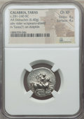 Ancients:Greek, Ancients: CALABRIA. Tarentum. Ca. 272-240 BC. AR stater or didrachm(6.40 gm). NGC Choice XF 4/5 - 4/5. ...