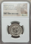 Ancients:Roman Provincial , Ancients: SYRIA. Antioch. Philip II (AD 247-249). BI tetradrachm(10.12 gm). NGC MS 4/5 - 5/5....