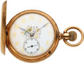 Timepieces:Pocket (pre 1900) , Elgin 14k Gold Convertible With Fancy Dial. ...