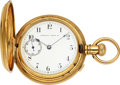 Timepieces:Pocket (pre 1900) , Waltham 18k Gold Double Dial Chronograph With Unusual Dial. ...