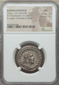 Ancients:Roman Provincial , Ancients: SYRIA. Antioch. Philip I (AD 244-249). BI tetradrachm(11.55 gm). NGC MS 5/5 - 5/5....