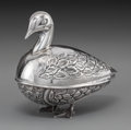 Silver Holloware, Continental:Holloware, An Egyptian Silver Bird-Form Box, Cairo, Egypt, 20th century .Marks: (various). 4-1/2 h x 4-3/4 w x 3 d inches (11.4 x 12.1...