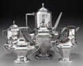 Silver Holloware, Continental:Holloware, Two Three-Piece Silver-Plated Coffee Sets, early 20th century andlater. Marks: (various). 8-5/8 inches (21.9 cm). PROPERT... (Total:6 Items)
