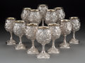 Silver Holloware, American:Cups, Twelve Galmer Partial Gilt Silver Repoussé Grape Goblets, 21stcentury. Marks: GALMER, SILVER, 925. 6-3/4 inches high (1...(Total: 12 Items)