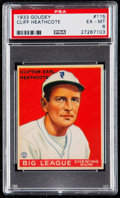 Baseball Cards:Singles (1930-1939), 1933 Goudey Cliff Heathcote #115 PSA EX-MT 6....