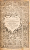 Books:Religion & Theology, [Bible in English]. [Breeches Bible]. The Bible... London: 1599. Early reprint with the heart-shaped border on t...