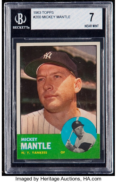 1963 Topps Mickey Mantle 200 Bgs Nm 7 Baseball Cards