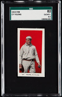 """1910 E98 """"Set of 30"""" Cy Young (Red) SGC 82 EX/NM+ 6.5"""