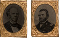 Political:Ferrotypes / Photo Badges (pre-1896), Ulysses S. Grant and Horatio Seymour: Matched Pair of Gem Ferrotype Badges. ...