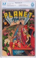 Golden Age (1938-1955):Science Fiction, Planet Comics #1 (Fiction House, 1940) CBCS VG- 3.5 Cream tooff-white pages....