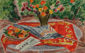 Works on Paper, André Dunoyer de Segonzac (French, 1884-1974). Table au vase de fleurs, aux peches, au Le Figaro et a l'ombrelle. Waterc...