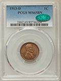 Lincoln Cents: , 1913-D 1C MS65 Brown PCGS. CAC. PCGS Population: (18/1). NGCCensus: (11/2). Mintage 15,804,000. ...