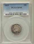 Bust Dimes: , 1825 10C XF45 PCGS. PCGS Population: (7/83). NGC Census: (2/68).Mintage 410,000. ...