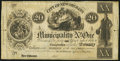 Obsoletes By State:Louisiana, New Orleans, LA- Municipality No. One $20 Post Note ___, 1842 Remainder. ...