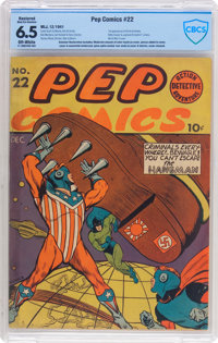 Pep Comics #22 (MLJ, 1941) CBCS Restored FN+ 6.5 (Moderate/Extensive) Off-white pages