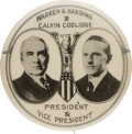 Political:Pinback Buttons (1896-present), Harding & Coolidge: Outstanding Rare Large Real Photo Jugate Considered by Many the Most Desirable Design for This Ticket....
