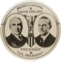 Harding & Coolidge: Outstanding Rare Large Real Photo Jugate Considered by Many the Most Desirable Design for This T...