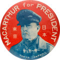 Political:Pinback Buttons (1896-present), Douglas A. MacArthur: Most Desirable Hopeful Button Made in Occupied Japan. ...