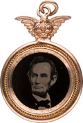 Political:Ferrotypes / Photo Badges (pre-1896), Abraham Lincoln: Possibly Unique Ferrotype Pendant or Charm. ...