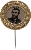 Political:Ferrotypes / Photo Badges (pre-1896), Ulysses S. Grant: Distinctive and Possibly Unique Ferrotype Stickpin Easily Mated to the Greeley Counterpart. ...