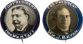 Political:Pinback Buttons (1896-present), William Howard Taft and William Jennings Bryan: Matching Picture Pins....