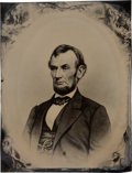 Political:Ferrotypes / Photo Badges (pre-1896), Abraham Lincoln: Rare Massive Full Plate Tintype of Brady $5 Bill Pose. ...