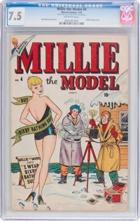 Millie the Model #4 (Atlas/Marvel, 1947) CGC VF- 7.5 Off-white pages