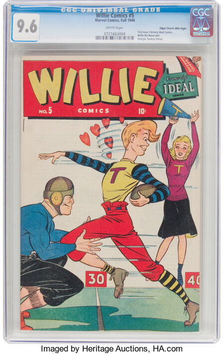Willie Comics #5 Mile High Pedigree (Marvel, 1946) CGC NM+ 9.6 White pages....
